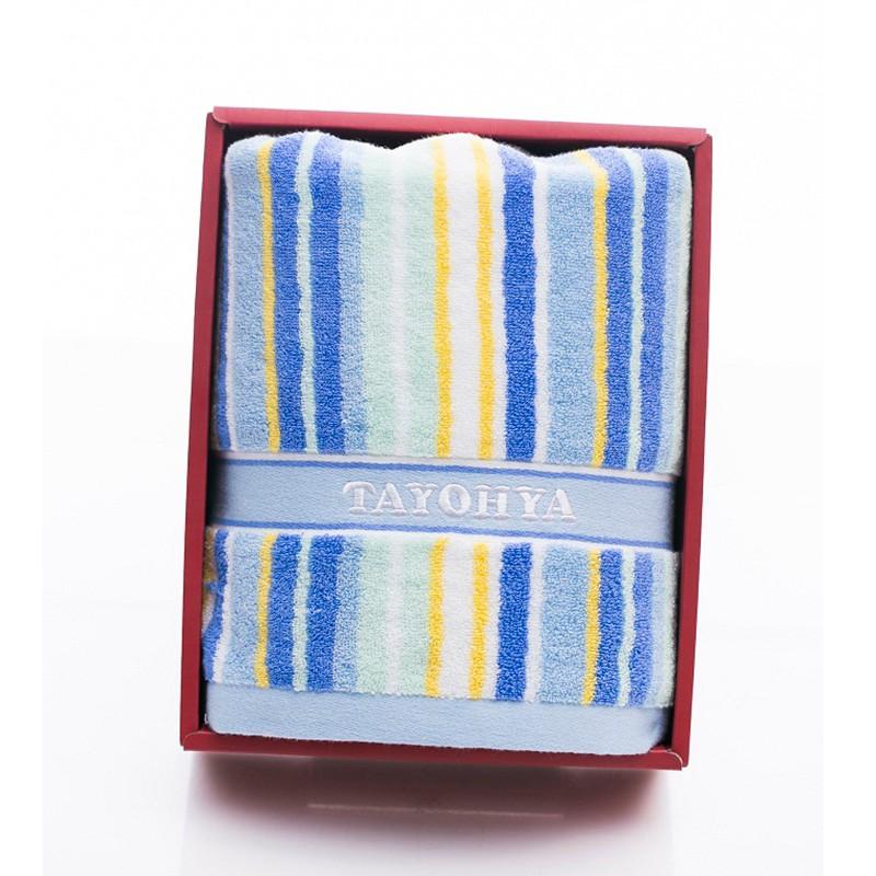 多样屋绚丽彩条1浴巾礼盒/蓝 礼品采购在线礼品定制家纺毛巾定制MY-BPDYW-052