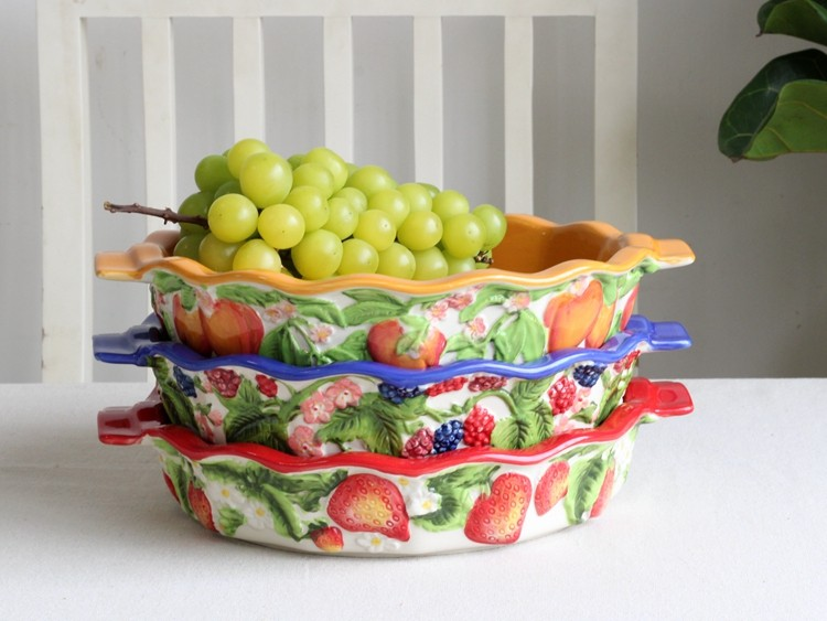 绘釉下彩陶瓷烤盘浮雕草莓 桃子 柠檬双耳大容量烤盘微波炉烤箱可用