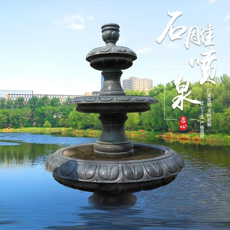 石雕喷泉 广场大理石喷泉水景石雕水钵厂家直销支持定制