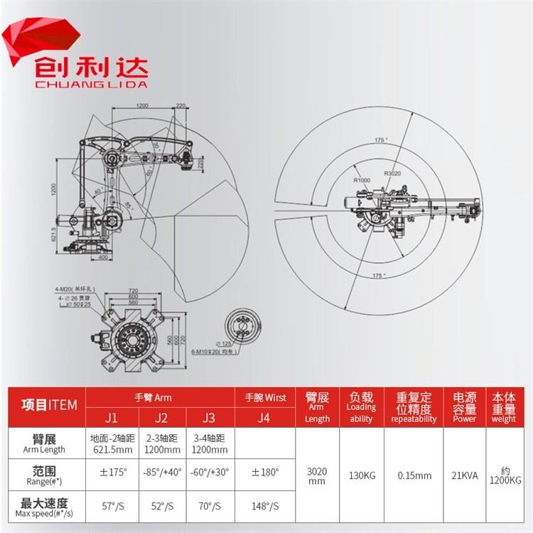 伯朗特四轴机器人 工业打磨机械手 厂家价格实惠  工业机械手 负载130KG