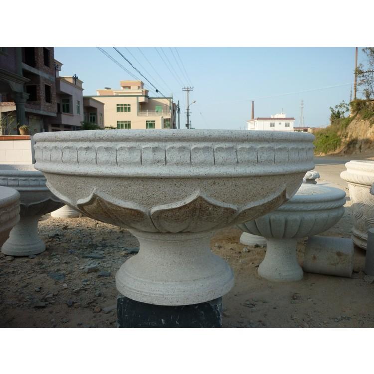 大理石雕刻花钵摆件 花钵石雕雕刻  永佳盛石雕定制