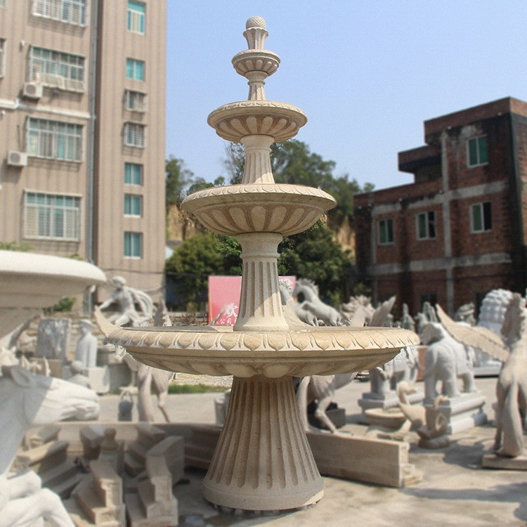 石雕喷泉 黄锈石水钵 欧式大型户外庭院流水园林喷水池景观摆件定制