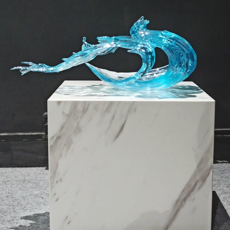 透明树脂抽象海浪雕塑摆件家居玄关酒店海浪花装饰摆件定制雕塑